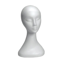 B7516WH - Foam Display Head Female  - 400mm High with Neck - White